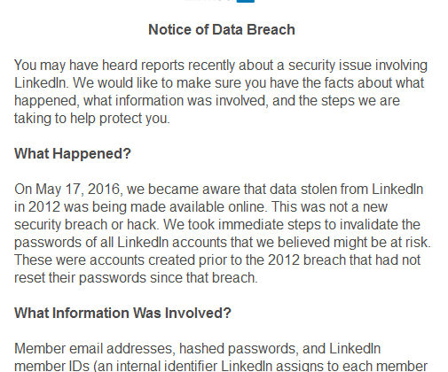 LinkedIn Data Breach May 17