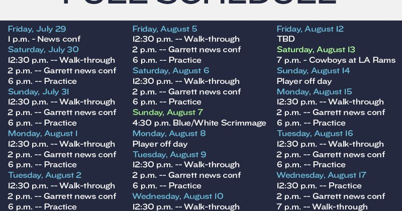 Dallas Cowboys 2016 Training Camp Schedule