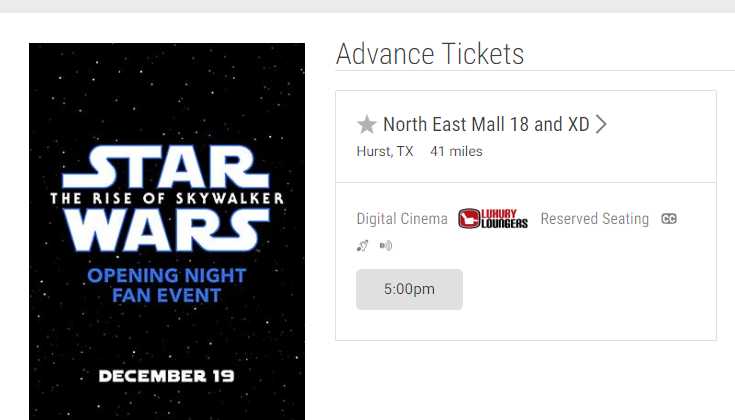 Star Wars Rise of Skywalker Fan Event at Cinemark North East Mall