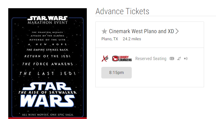 Experience All Nine Star Wars Saga Films In One Epic Day at Cinemark West Plano