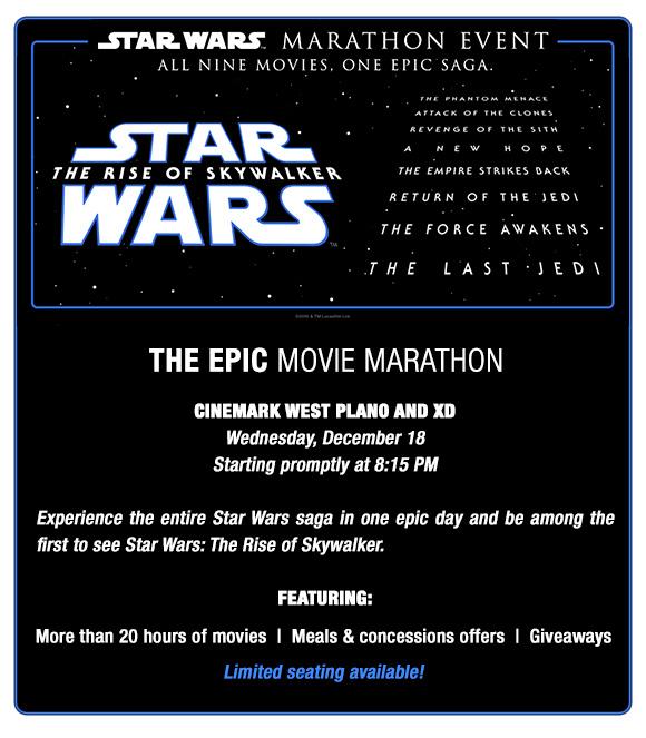 Star Wars Rise of Skywalker Movie Marathon Cinemark