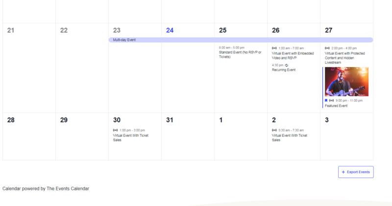 The Events Calendar plugin for WordPress